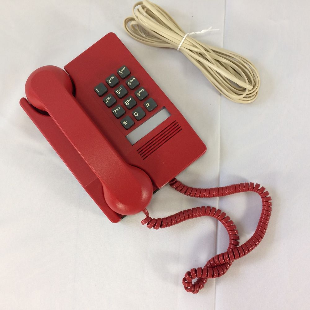Northern Telecom Telephone Harmony Red 1983 Wall Mount Or Table Tested With Cord Northerntelecom Wall Mount Telephone Cord