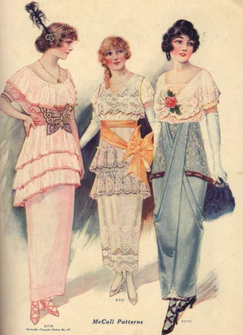 Evening dresses, 1914 US, McCall's Magazine