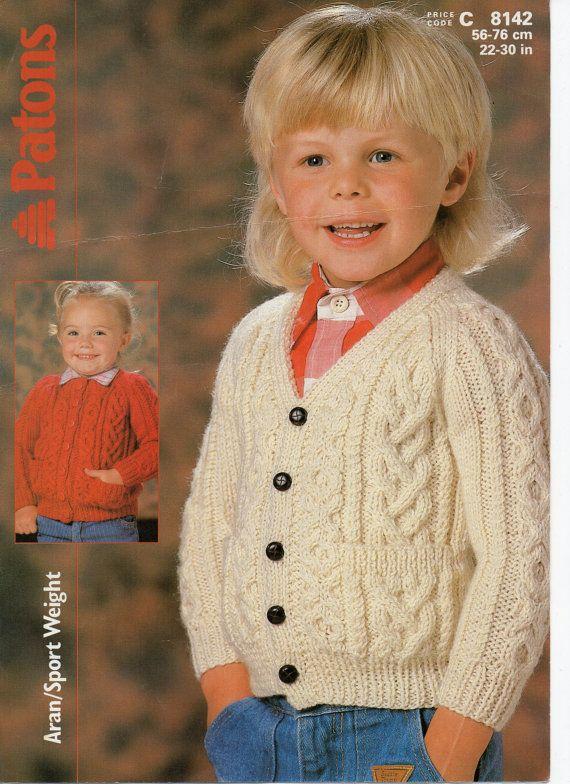 Childrens aran cardigan knitting pattern 22 30 inches aran yarn childrens aran cardigan knitting pattern 22 30 inches aran yarn childrens knitting pattern pdf instant download dt1010fo