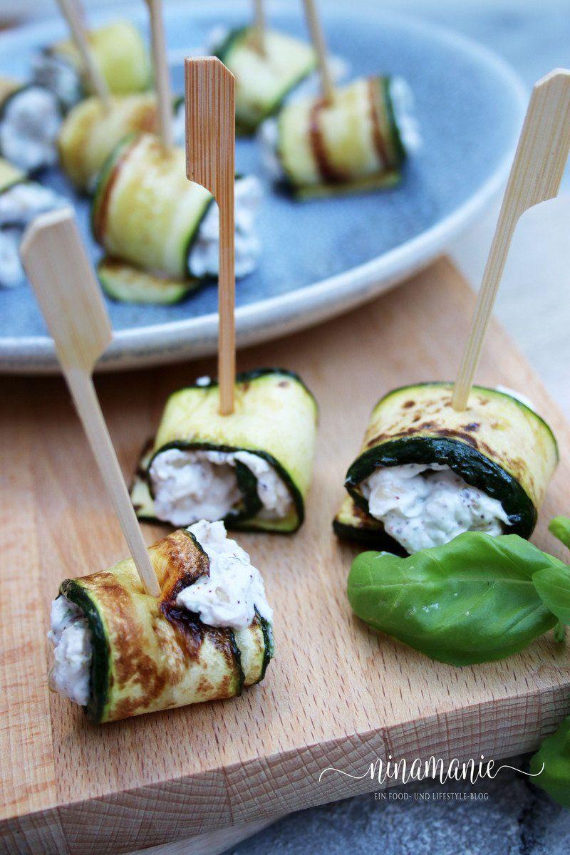 zucchiniröllchen mit ziegenkäse fingerfood vegetarisch