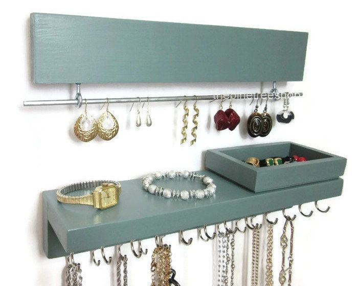 Jewelry Wall Organizer with Shelf Earring Necklace and Bracelet