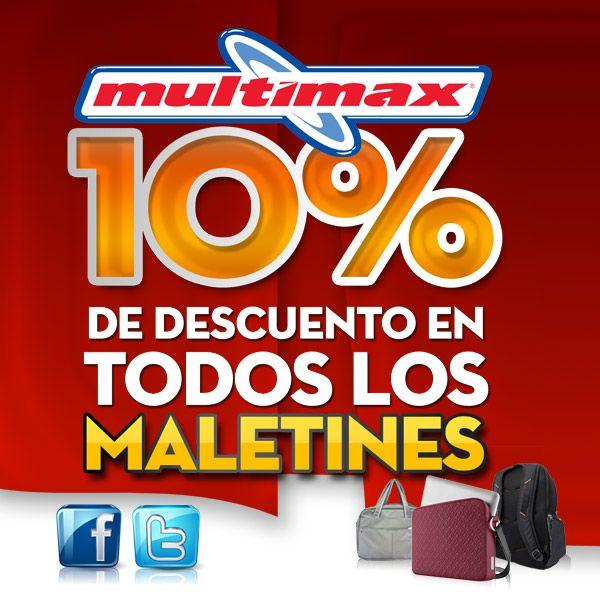 Necesitas maletín para tu Laptop? Aprovecha el 10% de descuento en todos nuestros maletines. (Oferta valida hasta el 4 de octubre) www.multimax.net