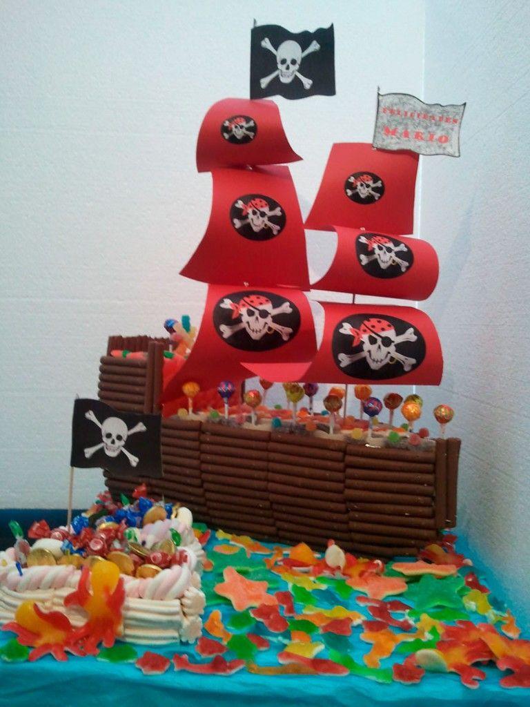 Barco pirata tartas de chuches tartas y decoraci n con - Adornos con chuches ...