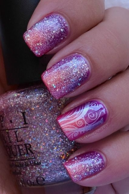 Purple To Pink Gradient With Glitter And Design Overlay Nail Art