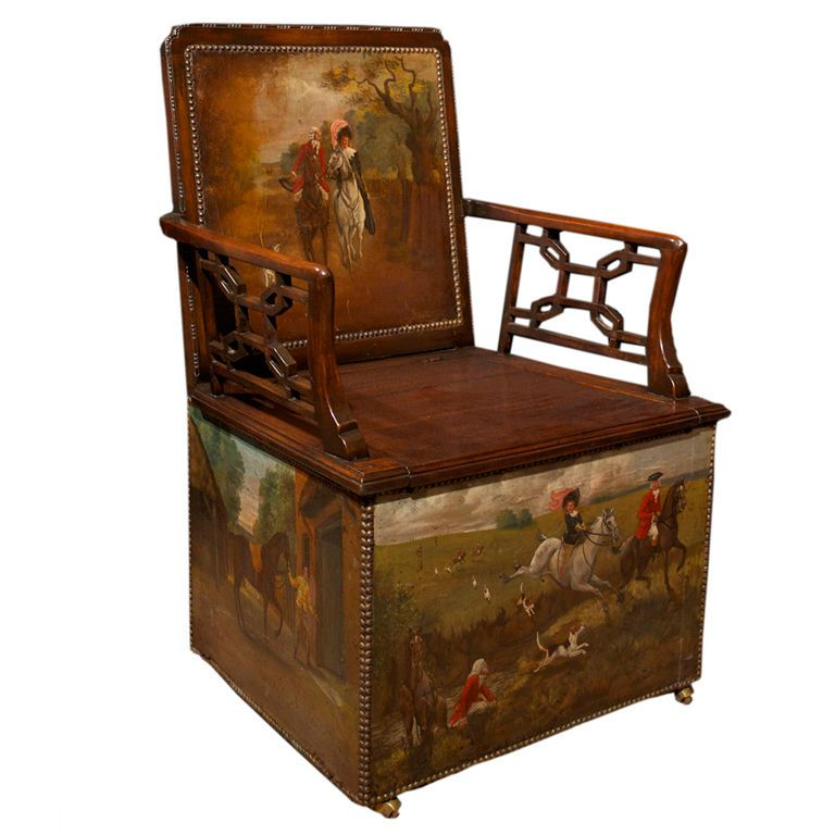George III Hunt Chair (concealed Chamberpot Toilet Chair!), England 18th  Century.
