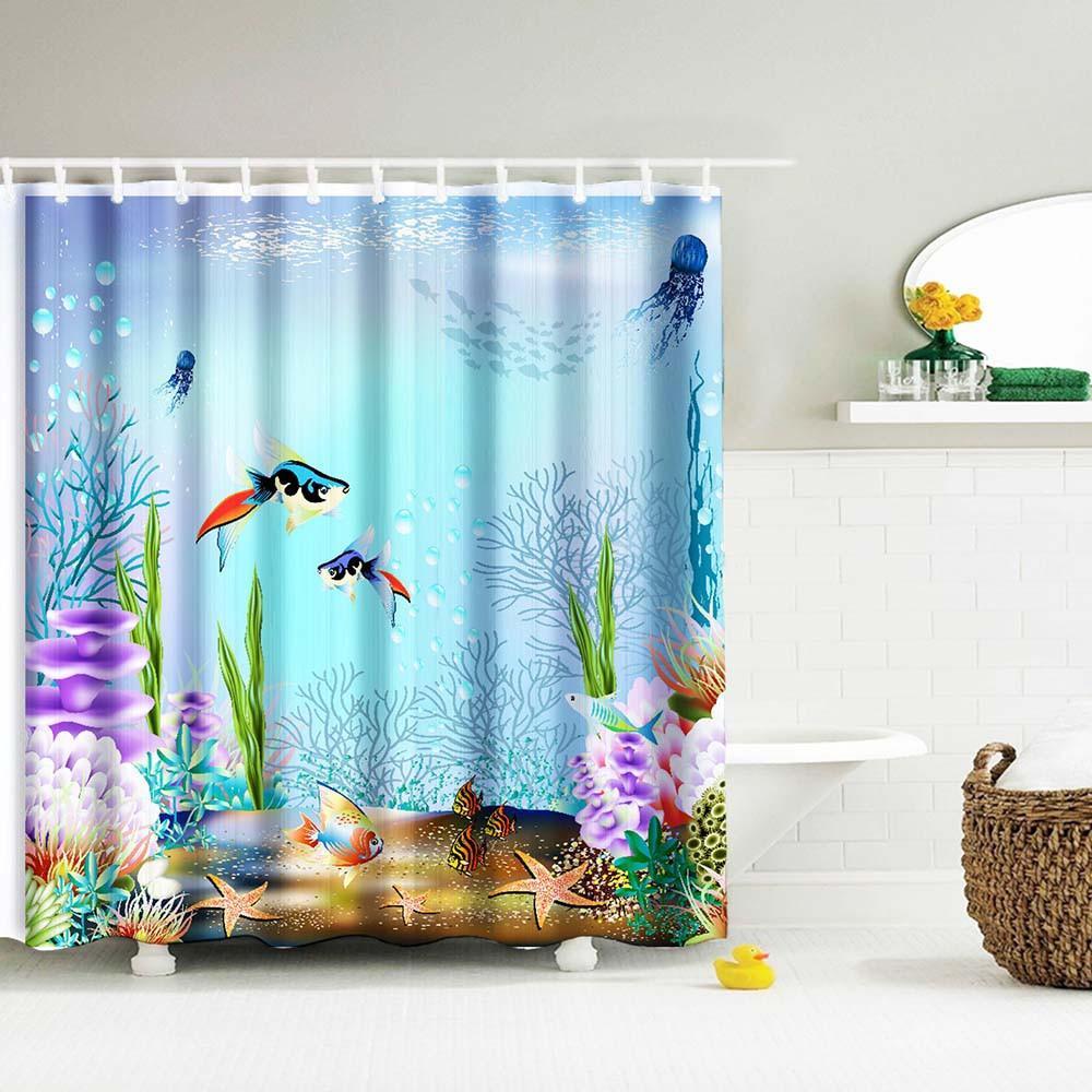 Digital Print Waterproof And Mildewproof Shower Curtain Retro