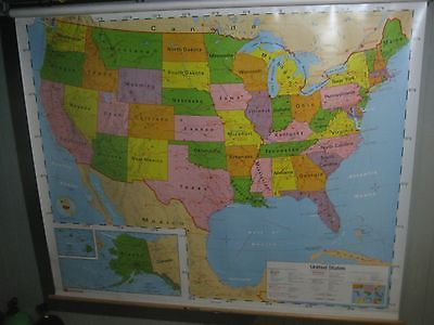 Huge united states of america us nystrom pull down wall map home huge united states of america us nystrom pull down wall map home school ebay gumiabroncs Image collections