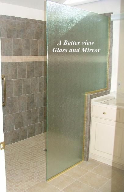 rain glass shower panel with notch for knee wall installed in ...