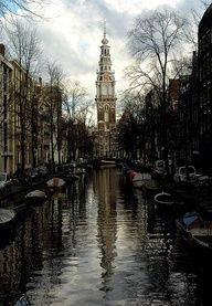 Channel in Amsterdam, The Netherlands.