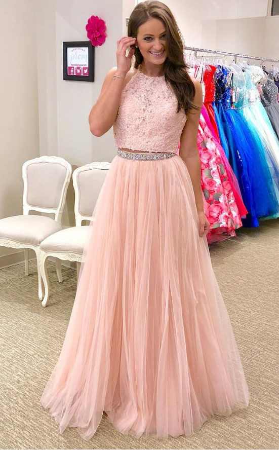 Charming 2 Piece Applique Tulle Long Prom Dress,Beaded Prom Dress,A ...