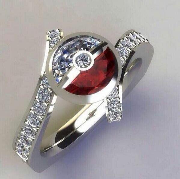 Incredible Pokemon Engagement Ring Pokemon Ring Geek Engagement Rings Pokeball Ring