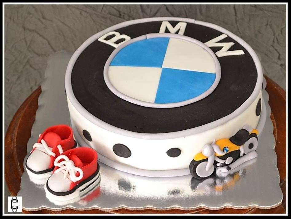 bmw - motorcycle - baby little converse - themed cake   bmw logos