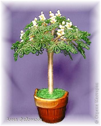 Мастер-класс Бисероплетение Цветущий каштан бисерное дерево Бисер Проволока фото 1