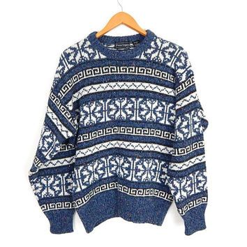 Vintage 90s Blue & White Snowflake Knit Sweater - Size Large ...