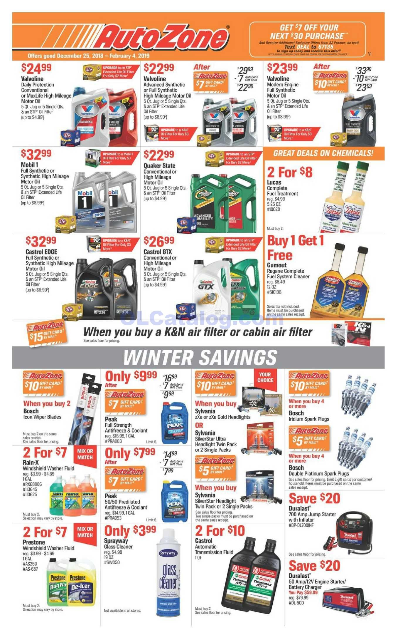 Autozone Parts Ad December 25 February 4 2019 Do You Know