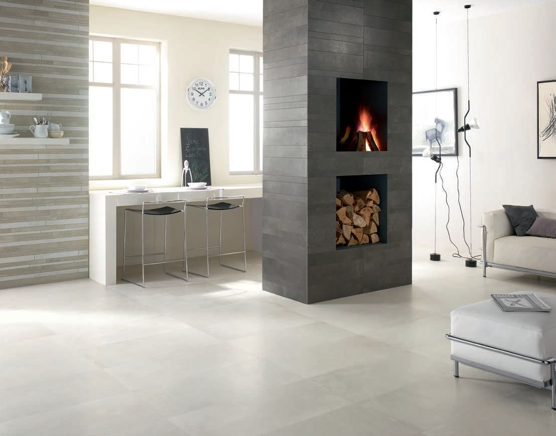 indoor tile / floor / porcelain stoneware / polished urban