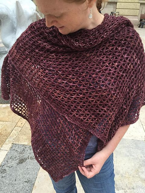Vela Wrap by Monika Sirna. malabrigo Silky in Red Wood Bark