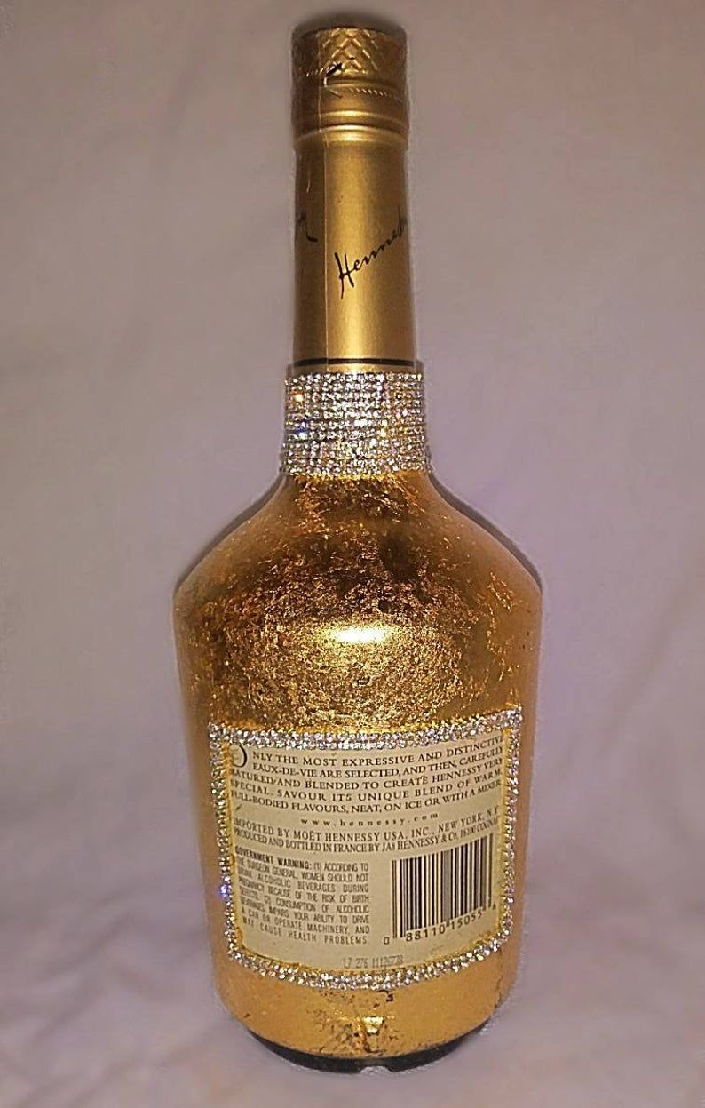 Personalized Bottle Covered In 24k Gold Etsy In 2020 Alcohol Bottle Decorations Glitter Wine Bottles Personalized Bottles