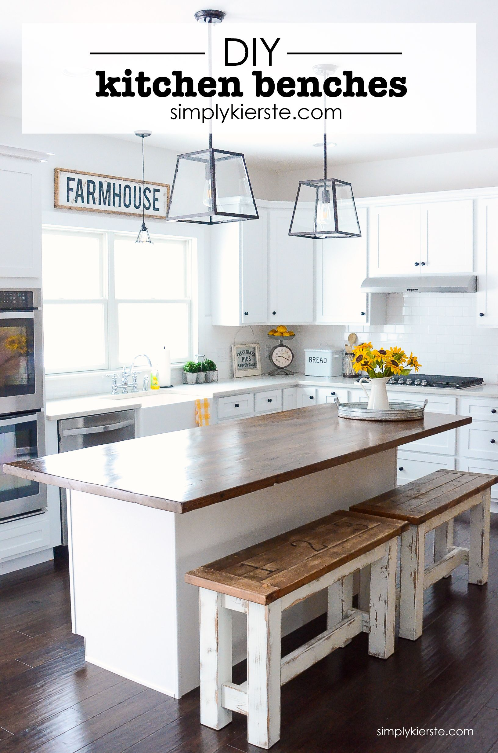 kitchen benches sink spray hose diy budget ideas farmhouse style these charming are perfect up at your island they re easy to make clean and give you extra seating space
