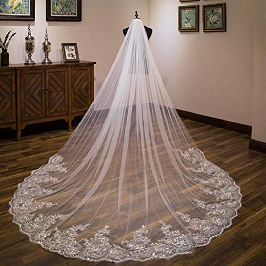 Brautschleier 3 Meter Eins Schicht Lange Spitze Braut Schleier Hochzeit Schleier Dom Braut Schleier Wei/ß Elfenbein