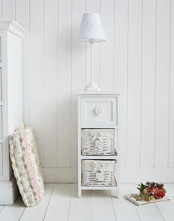 White Narrow Bedside Table With Drawers And Hearts For Slim