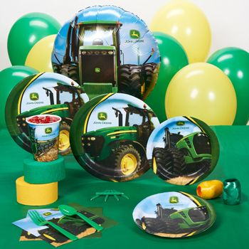 John Deere Tractor Standard Party Pack Standard Pack for 8 includes: (8) dinner plates, (8) dessert plates, (8) cups, (8) forks, (8) spoons, (16) napkins, (1) solid-color tablecover, (1) uninflated foil balloon, (12) uninflated latex balloons (2 colors), curling ribbons (2 colors), crepe paper rolls (2 colors).