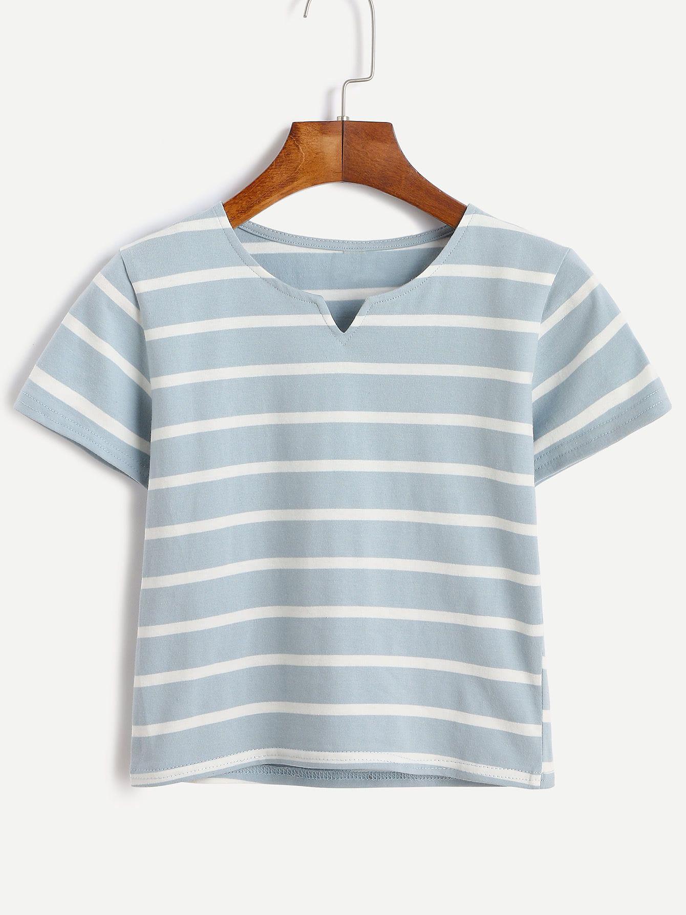 7ce5af5a38 Blue Striped V Cut Crop T-shirt -SheIn(Sheinside) | Outfits in 2019 ...