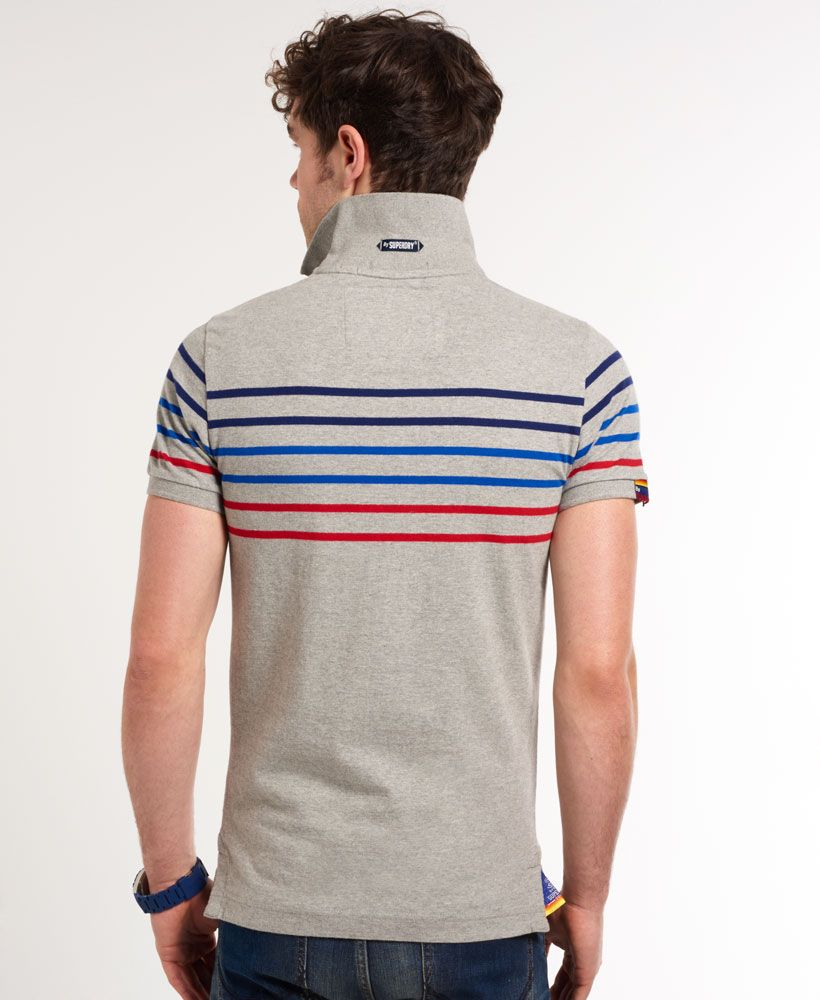 Mens - Bay Stripe Polo Shirt in Grey Marl Mix