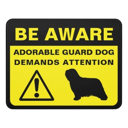 Komondor Silhoutte Funny Guard Dog Warning Door Sign Komondor