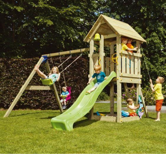 Parque Infantil Torre Kiosk Y Columpio Doble Br811101 Parques Infantiles Columpios Para Niños Patios De Recreo