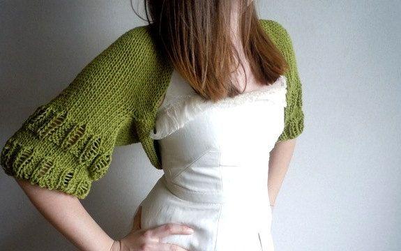 SALE SALE- Green Shrug-2012 Spring Summer Trends Shrug-Woman-Summer-Fashion Shrug-Shrugs-Bolero-Wedding-Stole-Shawl. $53.00, via Etsy.