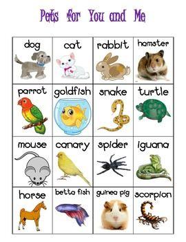 Pet Themed Vocabulary Words Chart Writing Station Freebie Pets