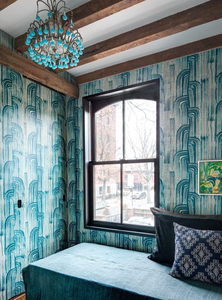 Groundworks CRESCENT PAPER LAKE/CREAM Wallpaper Blue