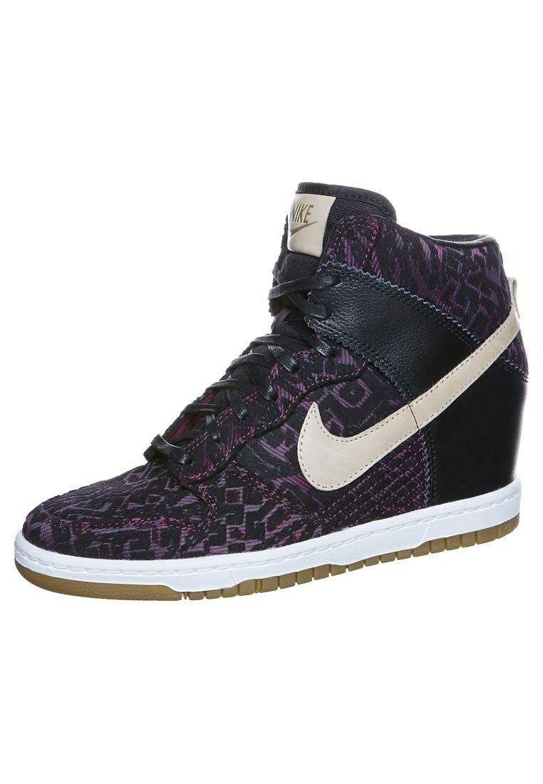 wholesale dealer d42cf bd61c Meilleur Nike Dunk Sky High Wedge Print Pour Femme Baskets Noir Violet  Ivoire Soldes France