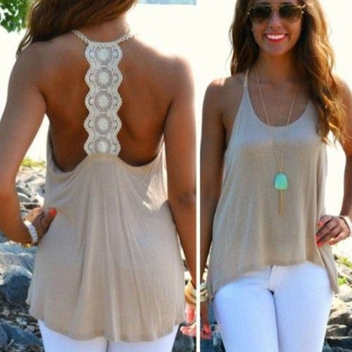 Sexy Backless Lace Spliced Loose Tank Tops - Shirt & Tops - Clothing