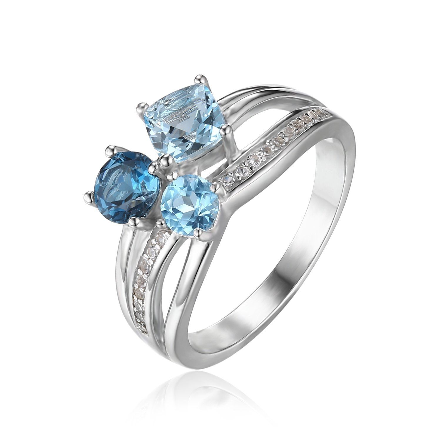 JewelryPalace 1.7ct Genuine Multi Swiss London Blue Topaz 3 Stones Ring 925 Sterling Silver 7EGLpENm