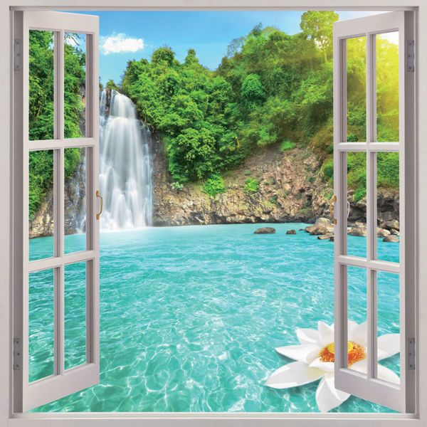 Waterfall 3d Window View Removable Wall Art Sticker Vinyl