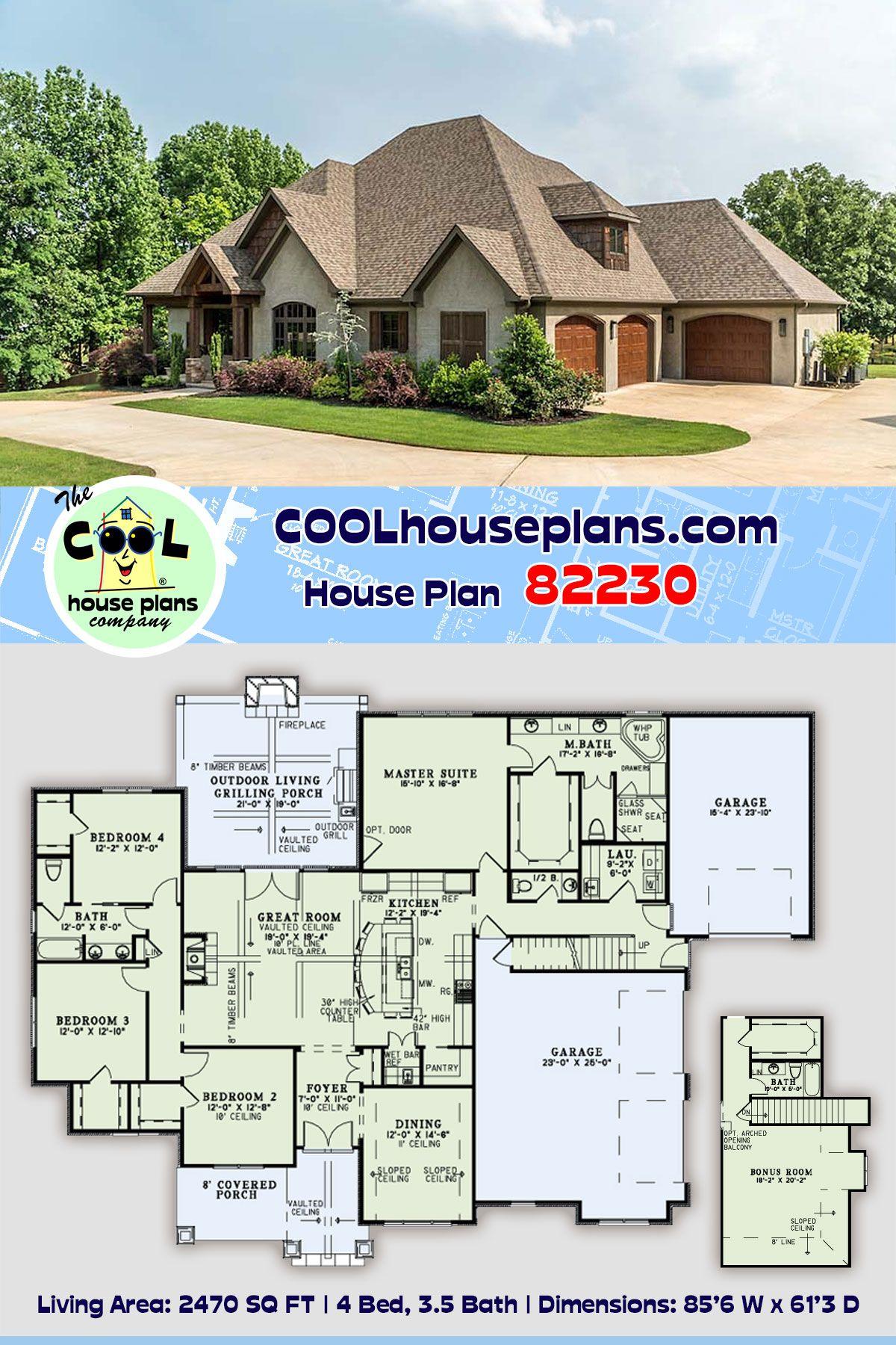 European Style House Plan 82230 With 4 Bed 4 Bath 3 Car Garage In 2020 Best House Plans Ranch House Plans House Plans