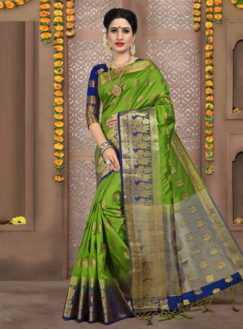 e8b79ea787 Buy Green Art Silk Saree With Blouse 149065 with blouse online at lowest  price from vast collection of sarees at Indianclothstore.com.