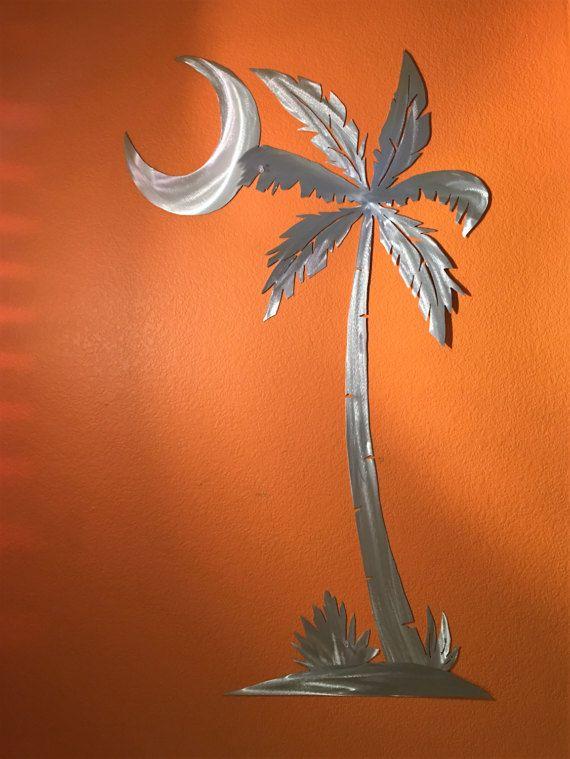 Moon Palm Tree Large Metal Wall Art Beach Ocean Artwork Home Decor