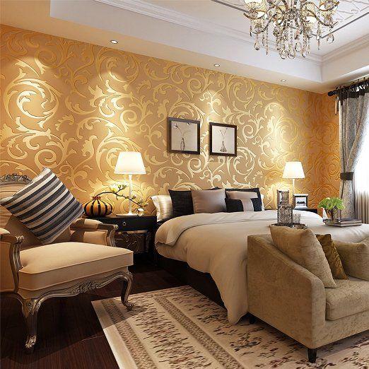 Neuest Europäische Minimalismus Blätter Goldene Tapete 10M Beste Dekoration  Für Wohn /Schlafzimmer/TV Einstellung Tapete,gelb: Amazon.de: Küche U0026  Haushalt
