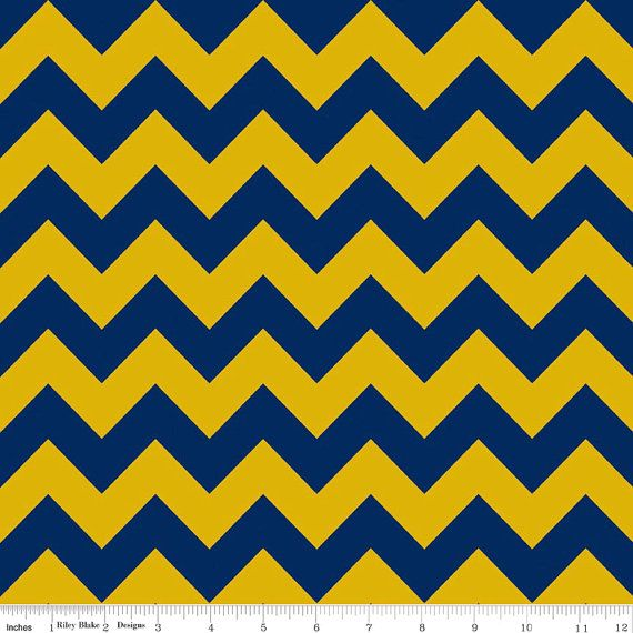 18 x 20 LAMINATED fabric Blue & Gold Chevron aka oil by Laminates ...