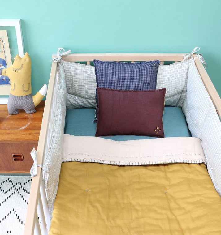 Decoration for baby and kids room, bedding collection in organic cotton and lovely colors, designed by Camomile London, mustard quilt