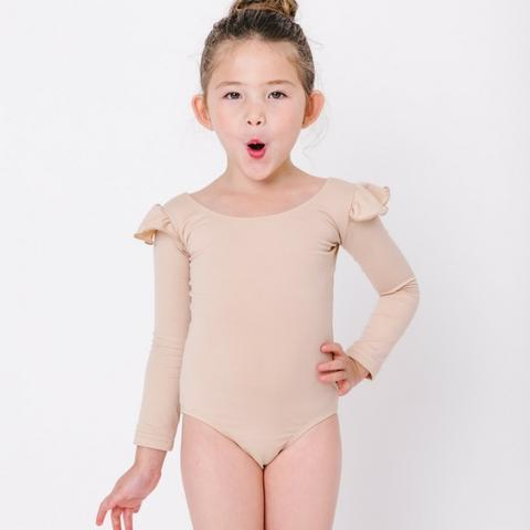 0d0de50af04a This long sleeve leotard with ruffle shoulder detail is a must-have in any  wardrobe