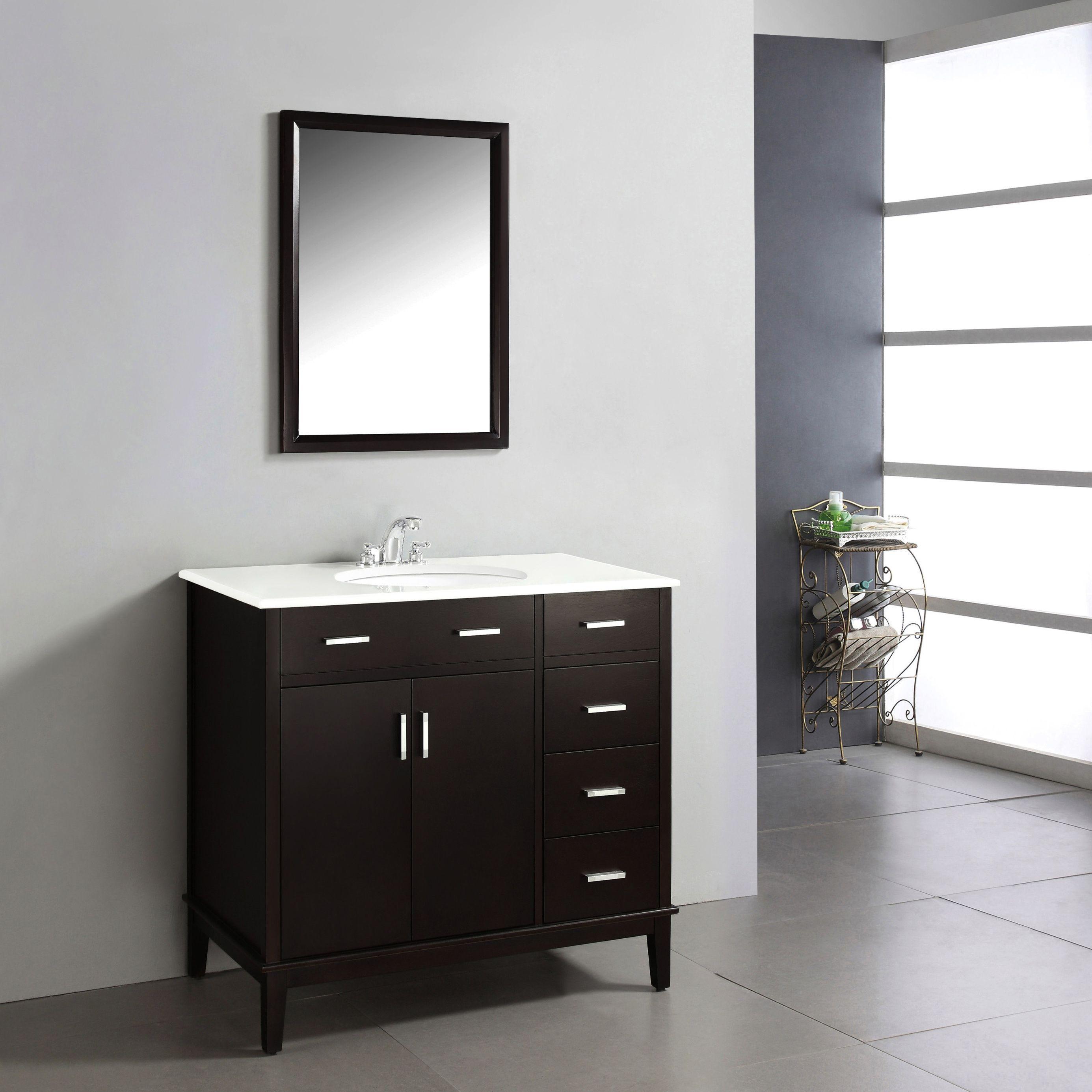 Wyndenhall Oxford 36 Inch Contemporary Bath Vanity In Dark Espresso Brown With White Engineered Quartz Marble Top Marble Vanity Tops Single Bathroom Vanity Bath Vanities