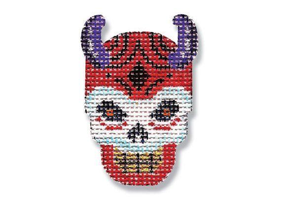 Halloween Needlepoint canvas- Devil Skull -18 mesh $16.00
