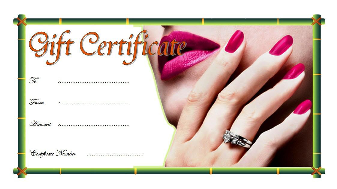 Nail Salon Gift Certificate Design Free 1 Gift Certificate Template Certificate Templates Pedicure Gift