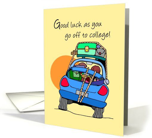general off to college card good luck going to college car greeting card by sandra rose. Black Bedroom Furniture Sets. Home Design Ideas