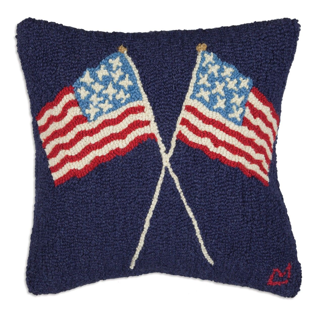 """crossed flags on blue 18"""" pillow"""