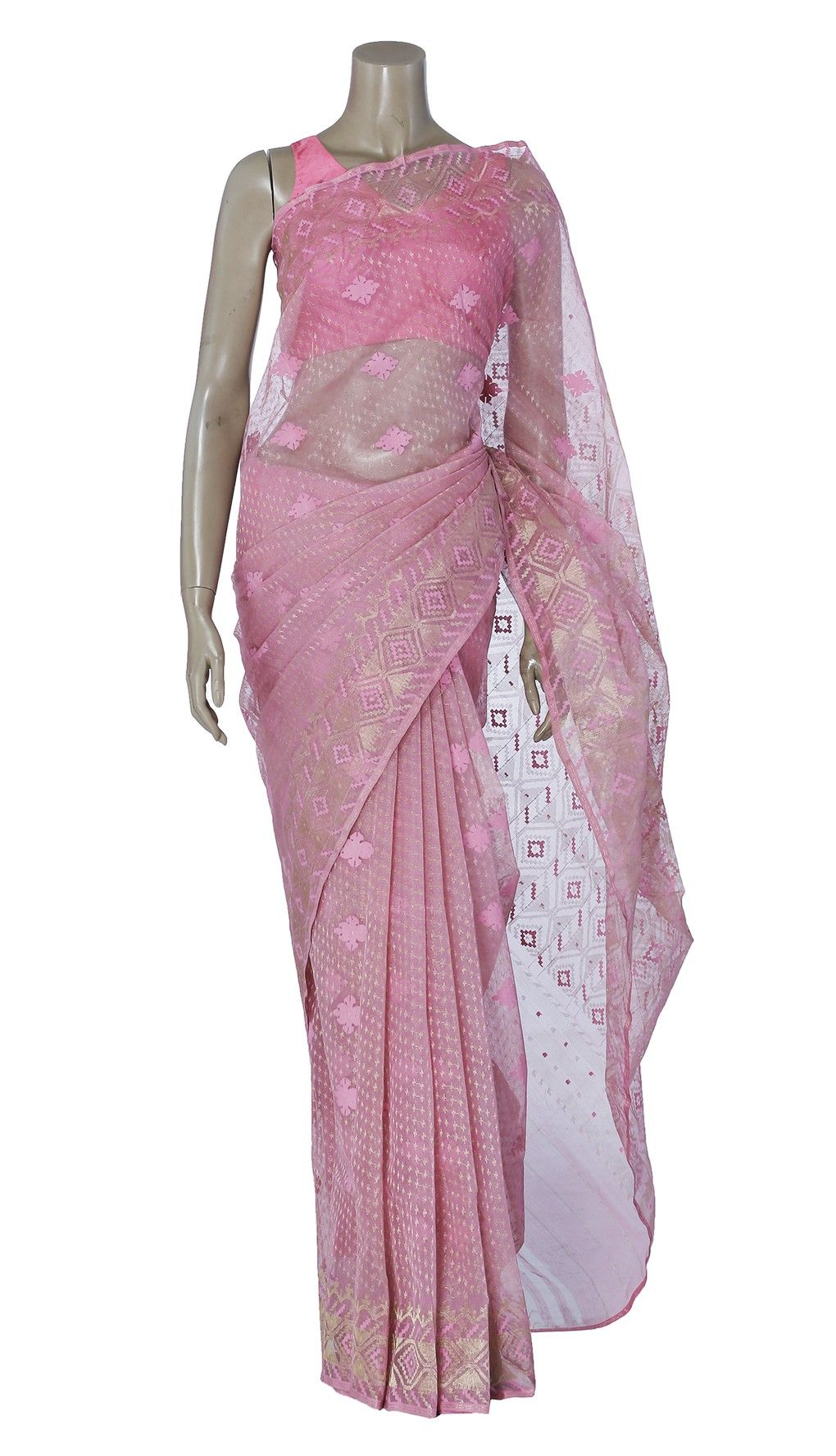 70a01eec85bb0b Light Pink and Golden Half Silk Jamdani Saree | Dhakai Jamdani Saree ...
